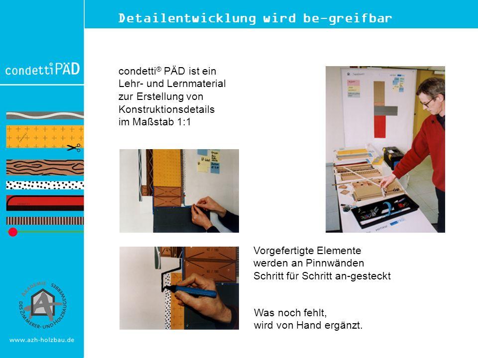 Detailentwicklung wird be-greifbar condetti ® PÄD ist ein Lehr- und Lernmaterial zur Erstellung von Konstruktionsdetails im Maßstab 1:1 Vorgefertigte