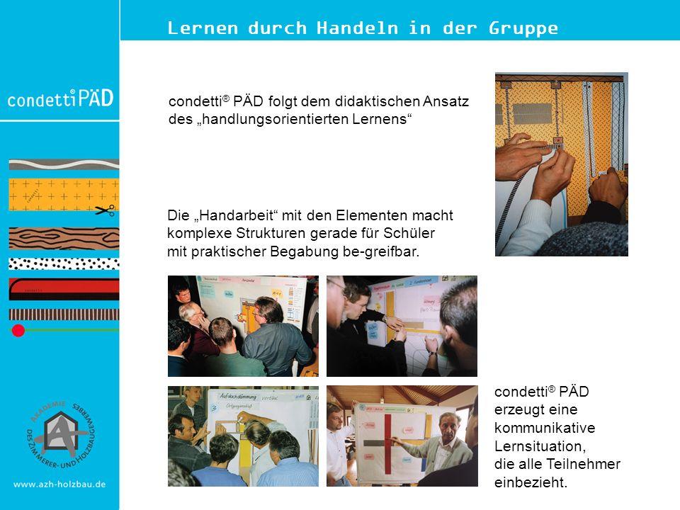 Lernen durch Handeln in der Gruppe condetti ® PÄD folgt dem didaktischen Ansatz des handlungsorientierten Lernens Die Handarbeit mit den Elementen mac