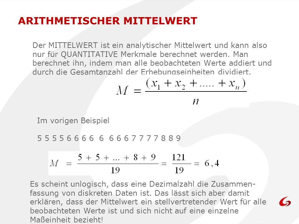 Der MITTELWERT ist ein analytischer Mittelwert und kann also nur für QUANTITATIVE Merkmale berechnet werden. Man berechnet ihn, indem man alle beobach