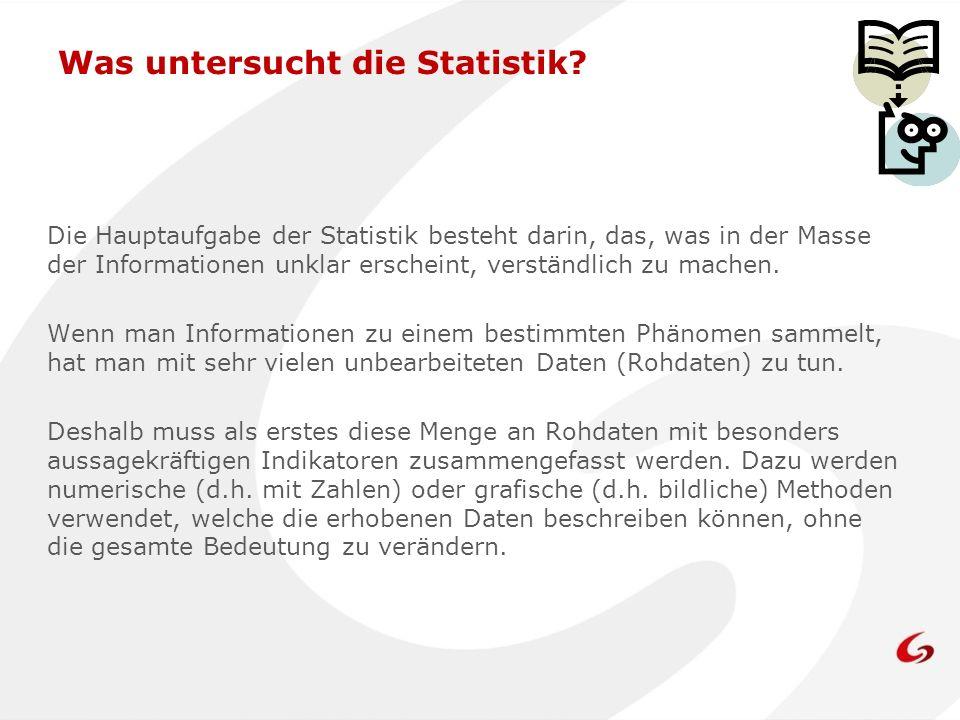Was untersucht die Statistik? Die Hauptaufgabe der Statistik besteht darin, das, was in der Masse der Informationen unklar erscheint, verständlich zu
