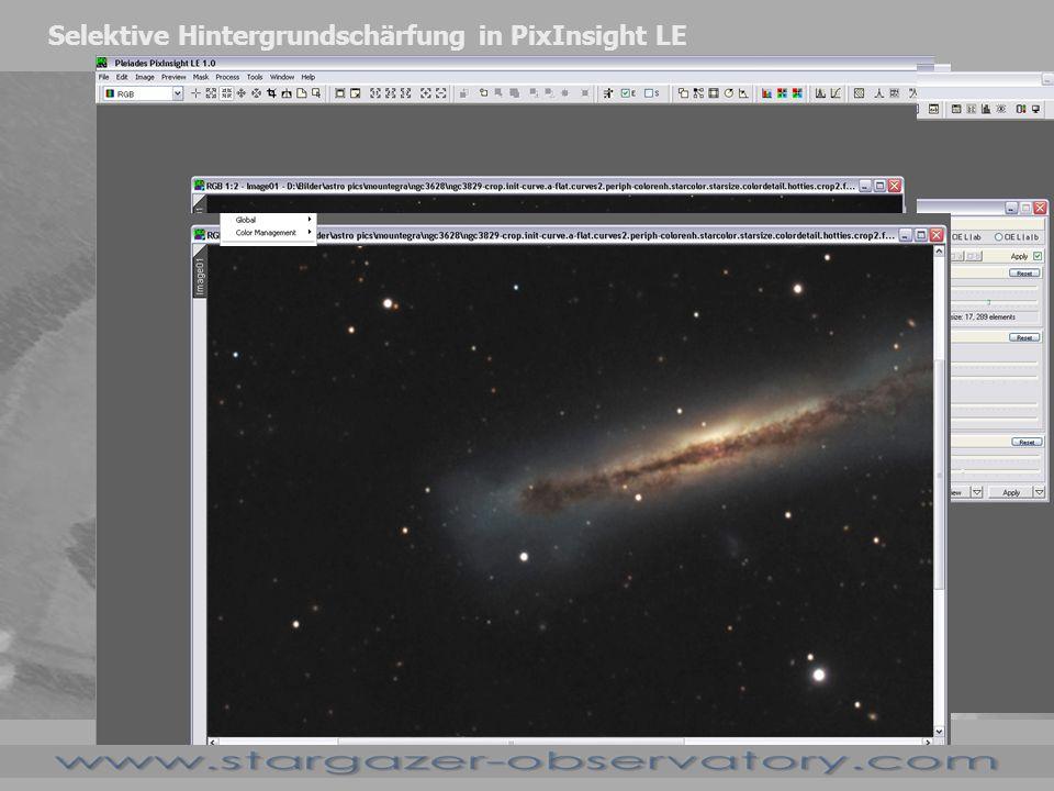 Selektive Hintergrundschärfung in PixInsight LE