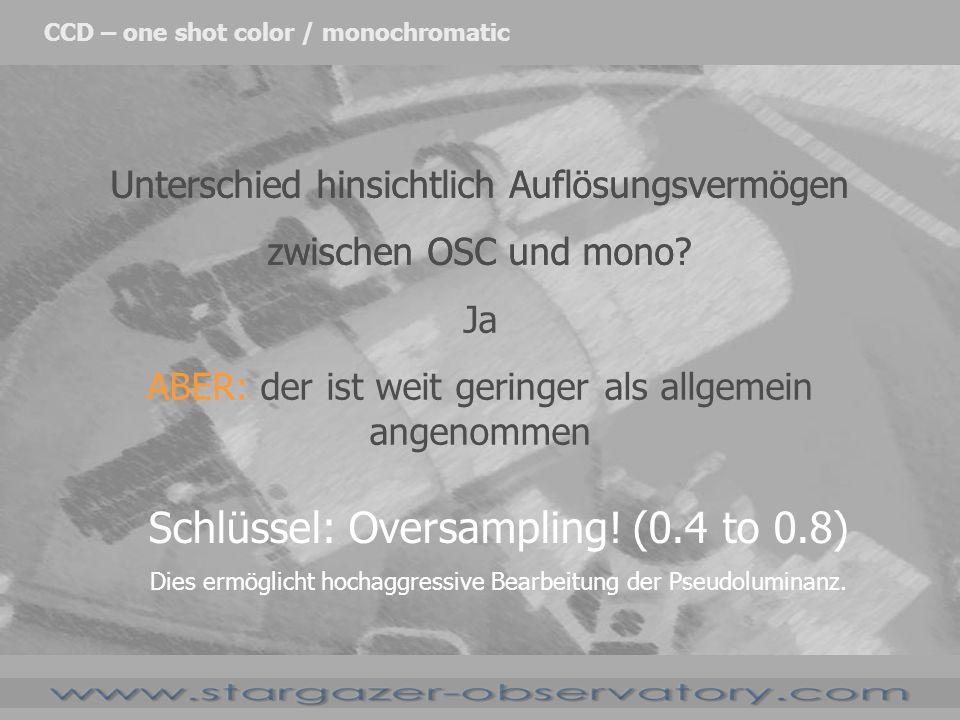Unterschied hinsichtlich Auflösungsvermögen zwischen OSC und mono? CCD – one shot color / monochromatic Unterschied hinsichtlich Auflösungsvermögen zw