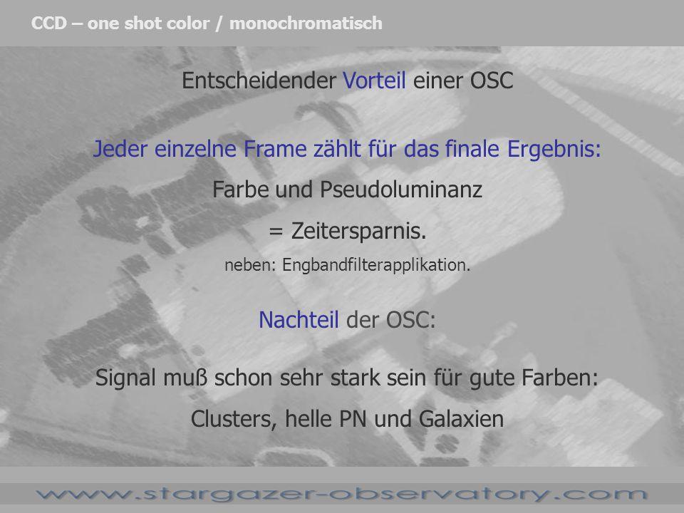 Entscheidender Vorteil einer OSC Jeder einzelne Frame zählt für das finale Ergebnis: Farbe und Pseudoluminanz = Zeitersparnis. neben: Engbandfilterapp