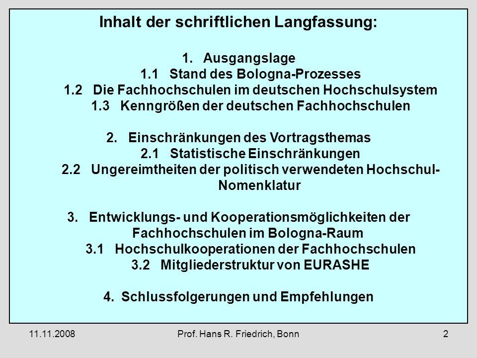 11.11.2008Prof. Hans R. Friedrich, Bonn2 Inhalt der schriftlichen Langfassung: 1.