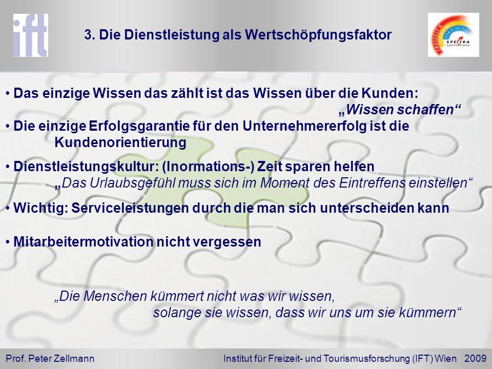 Prof. Peter Zellmann Institut für Freizeit- und Tourismusforschung (IFT) Wien 2009 Dienstleistungskultur: (Inormations-) Zeit sparen helfen Das Urlaub