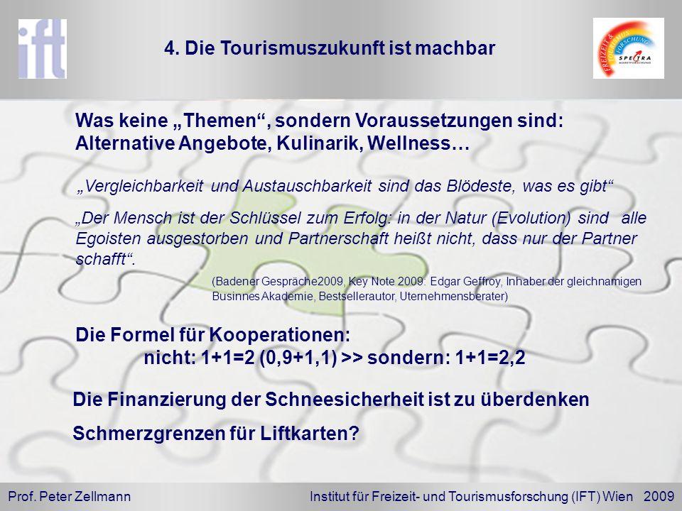 Prof. Peter Zellmann Institut für Freizeit- und Tourismusforschung (IFT) Wien 2009 Der Mensch ist der Schlüssel zum Erfolg: in der Natur (Evolution) s