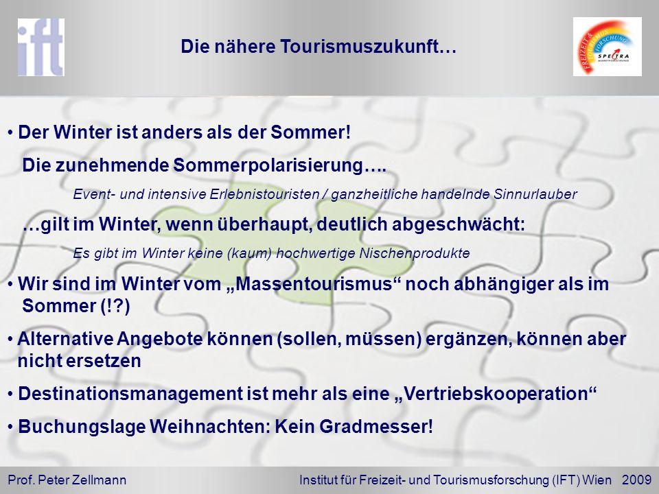 Prof. Peter Zellmann Institut für Freizeit- und Tourismusforschung (IFT) Wien 2009 Der Winter ist anders als der Sommer! Die zunehmende Sommerpolarisi