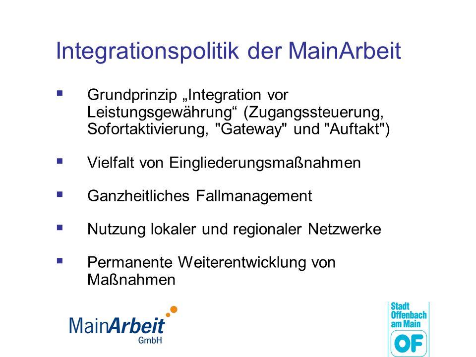 Integrationspolitik der MainArbeit Grundprinzip Integration vor Leistungsgewährung (Zugangssteuerung, Sofortaktivierung,