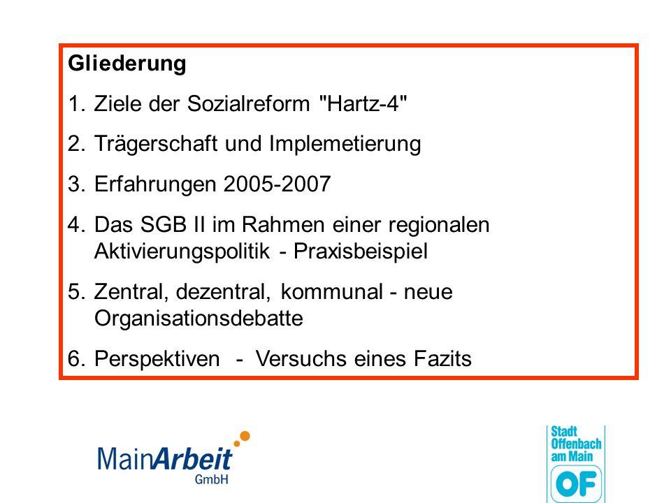Gliederung 1.Ziele der Sozialreform Hartz-4 2.Trägerschaft und Implemetierung 3.Erfahrungen 2005-2007 4.Das SGB II im Rahmen einer regionalen Aktivierungspolitik - Praxisbeispiel 5.Zentral, dezentral, kommunal - neue Organisationsdebatte 6.Perspektiven - Versuchs eines Fazits