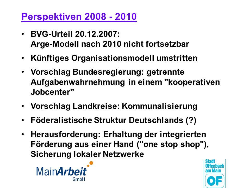 Perspektiven 2008 - 2010 BVG-Urteil 20.12.2007: Arge-Modell nach 2010 nicht fortsetzbar Künftiges Organisationsmodell umstritten Vorschlag Bundesregie