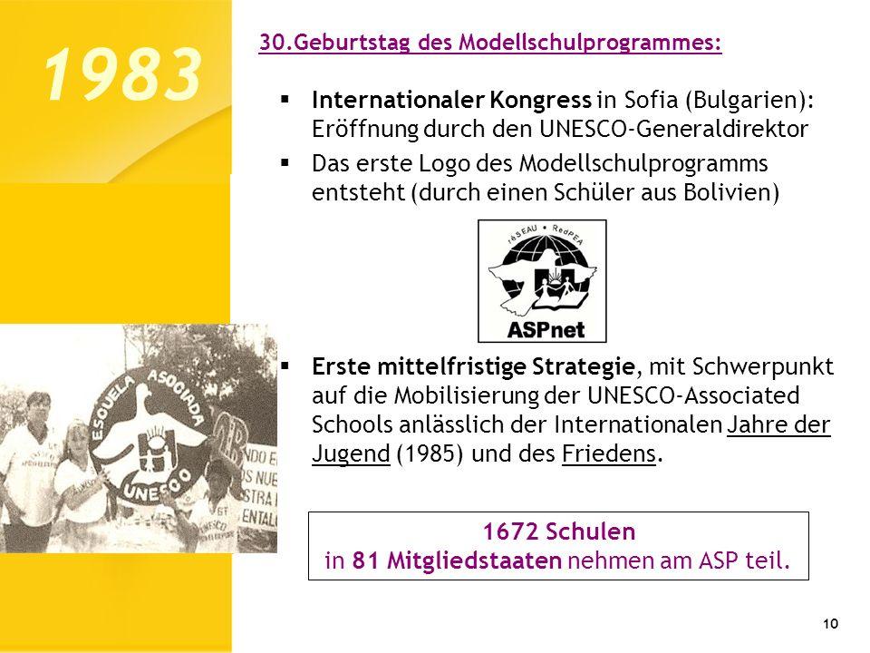10 1983 Internationaler Kongress in Sofia (Bulgarien): Eröffnung durch den UNESCO-Generaldirektor Das erste Logo des Modellschulprogramms entsteht (du