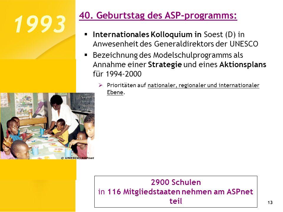 Internationales Kolloquium in Soest (D) in Anwesenheit des Generaldirektors der UNESCO Bezeichnung des Modelschulprogramms als Annahme einer Strategie