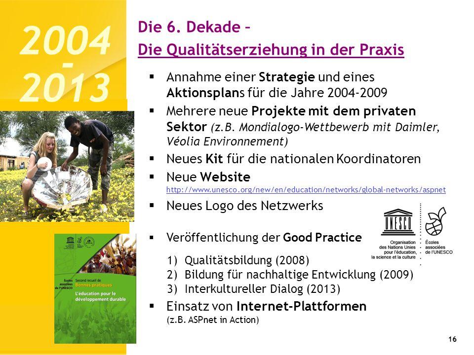 16 Annahme einer Strategie und eines Aktionsplans für die Jahre 2004-2009 Mehrere neue Projekte mit dem privaten Sektor (z.B. Mondialogo-Wettbewerb mi