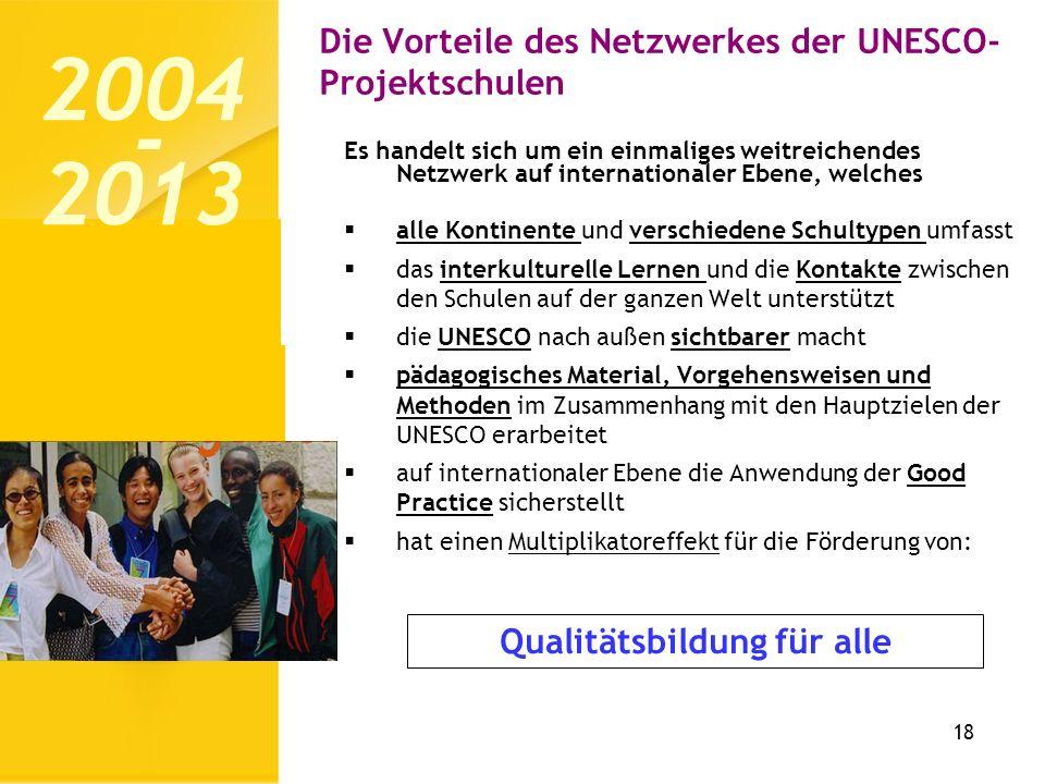 Die Vorteile des Netzwerkes der UNESCO- Projektschulen 18 Es handelt sich um ein einmaliges weitreichendes Netzwerk auf internationaler Ebene, welches