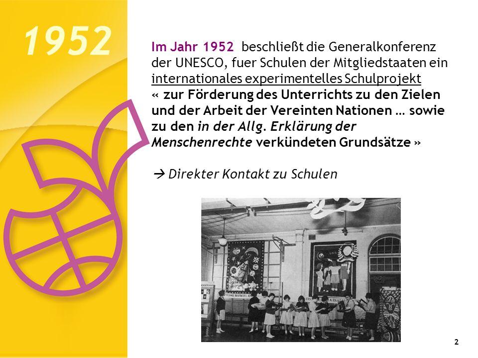 3 Im Jahr 1953, 8 Jahre nach Gründung der UNESCO, wurde das UNESCO-Modellschul- programm mit 33 Sekundarschulen in 15 Mitgliedstaaten ins Leben gerufen: 1953 – die Geburt des UNESCO- Modellschul- programms Belgien Costa Rica Deutschland (BRD) Equador Frankreich Großbritannien Japan Jugoslawien Niederlande Norwegen Pakistan Philippinen Schweden Schweiz Uruguay