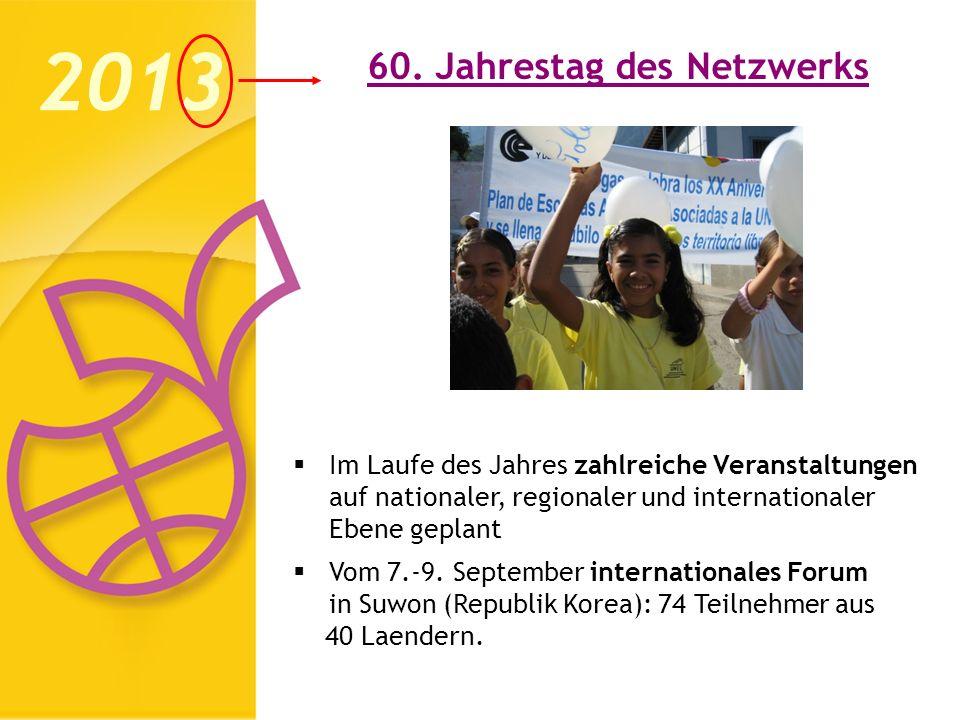 60. Jahrestag des Netzwerks 2013 Im Laufe des Jahres zahlreiche Veranstaltungen auf nationaler, regionaler und internationaler Ebene geplant Vom 7.-9.