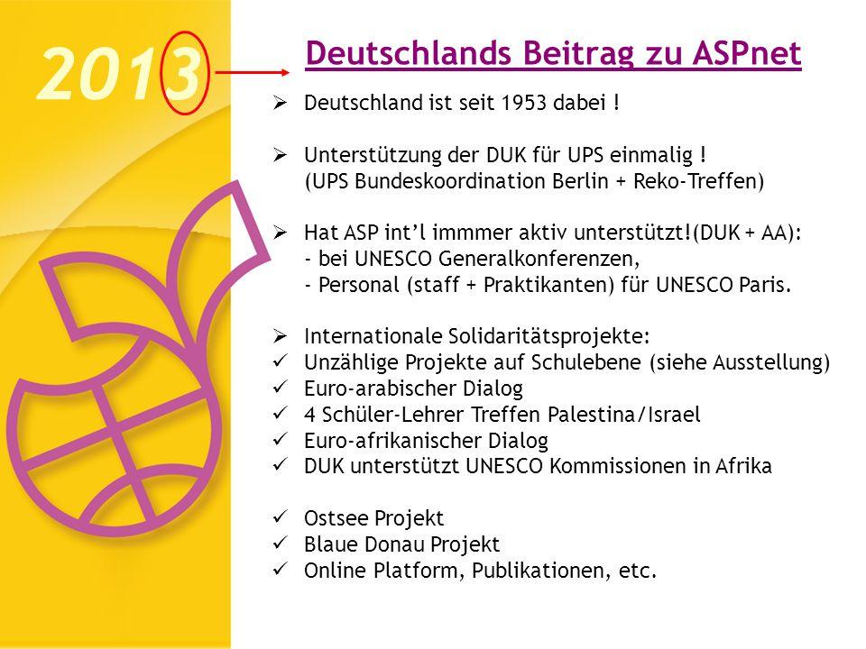 Deutschlands Beitrag zu ASPnet 2013 Deutschland ist seit 1953 dabei ! Unterstützung der DUK für UPS einmalig ! (UPS Bundeskoordination Berlin + Reko-T