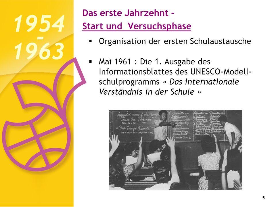 Das erste Jahrzehnt – Start und Versuchsphase 5 Organisation der ersten Schulaustausche Mai 1961 : Die 1. Ausgabe des Informationsblattes des UNESCO-M