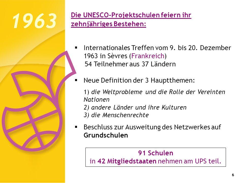 Die UNESCO-Projektschulen feiern ihr zehnjähriges Bestehen: 6 Internationales Treffen vom 9. bis 20. Dezember 1963 in Sèvres (Frankreich) 54 Teilnehme