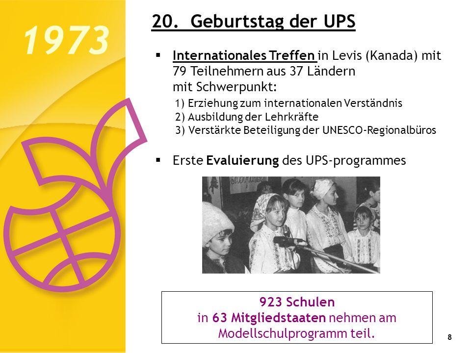9 1974: Annahme einer Empfehlung der Generalkonferenz veranlasst immer mehr Mitgliedsstaaten, den ASP beizutreten: -- Experimentierfähigkeit und Innovation -- Ausbau des Unterrichts und der außerschulischen Aktivitäten 1975: der Umweltschutz wird zum vierten Hauptarbeitsthema 1976: Das Netzwerk umfasst auch die Vorschulen 1974 1983 - Das dritte Jahrzehnt – Normalisierung und Evaluierung 1979: zwei Hochschullehrer (Kanada und Tanzania) nehmen eine ausführliche Evaluierung vor; erstes interregionales Projekt über Menschenrechte, Abrüstung und die neue Weltwirtschafts- ordnung.