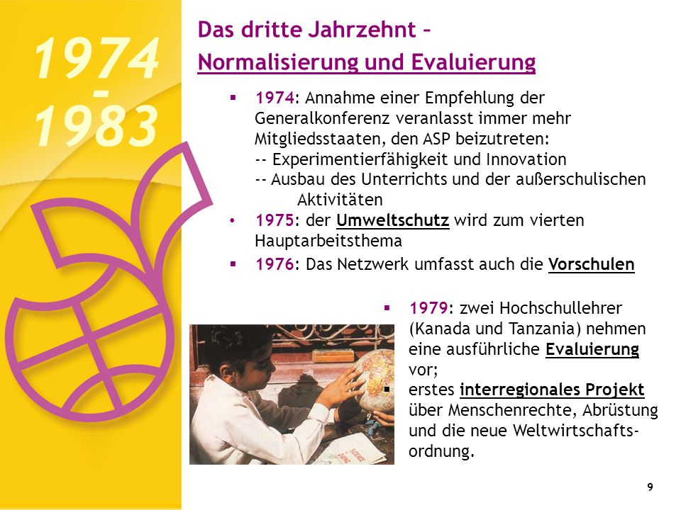 9 1974: Annahme einer Empfehlung der Generalkonferenz veranlasst immer mehr Mitgliedsstaaten, den ASP beizutreten: -- Experimentierfähigkeit und Innov