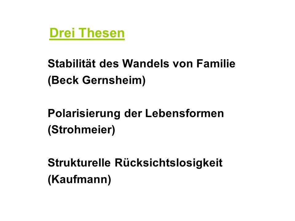 Drei Thesen Stabilität des Wandels von Familie (Beck Gernsheim) Polarisierung der Lebensformen (Strohmeier) Strukturelle Rücksichtslosigkeit (Kaufmann)