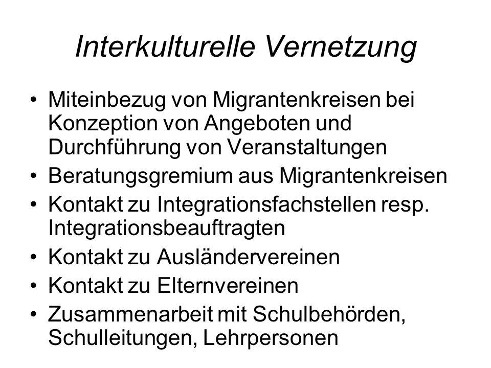 Interkulturelle Vernetzung Miteinbezug von Migrantenkreisen bei Konzeption von Angeboten und Durchführung von Veranstaltungen Beratungsgremium aus Mig