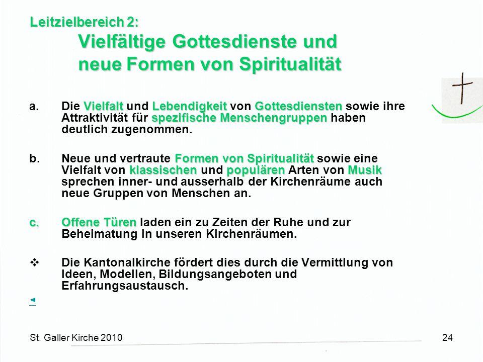 St. Galler Kirche 201024 Leitzielbereich 2: Vielfältige Gottesdienste und neueFormen von Spiritualität Vielfalt LebendigkeitGottesdiensten spezifische
