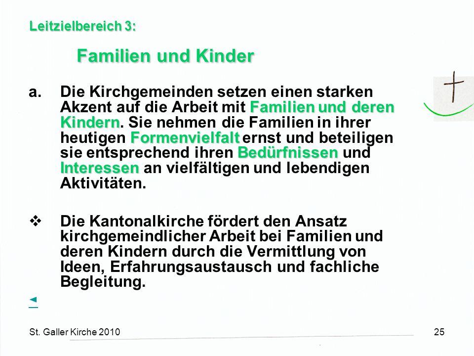 St. Galler Kirche 201025 Leitzielbereich 3: Familien und Kinder Familien und deren Kindern Formenvielfalt Bedürfnissen Interessen a.Die Kirchgemeinden