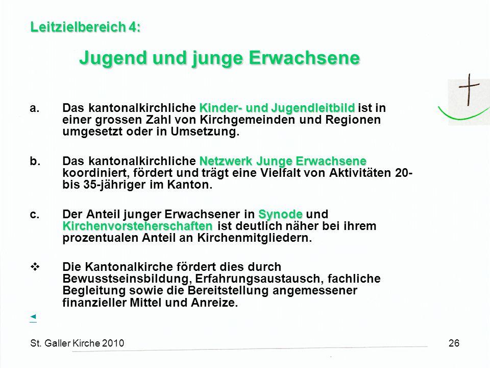 St. Galler Kirche 201026 Leitzielbereich 4: Jugend und junge Erwachsene Kinder- und Jugendleitbild a.Das kantonalkirchliche Kinder- und Jugendleitbild