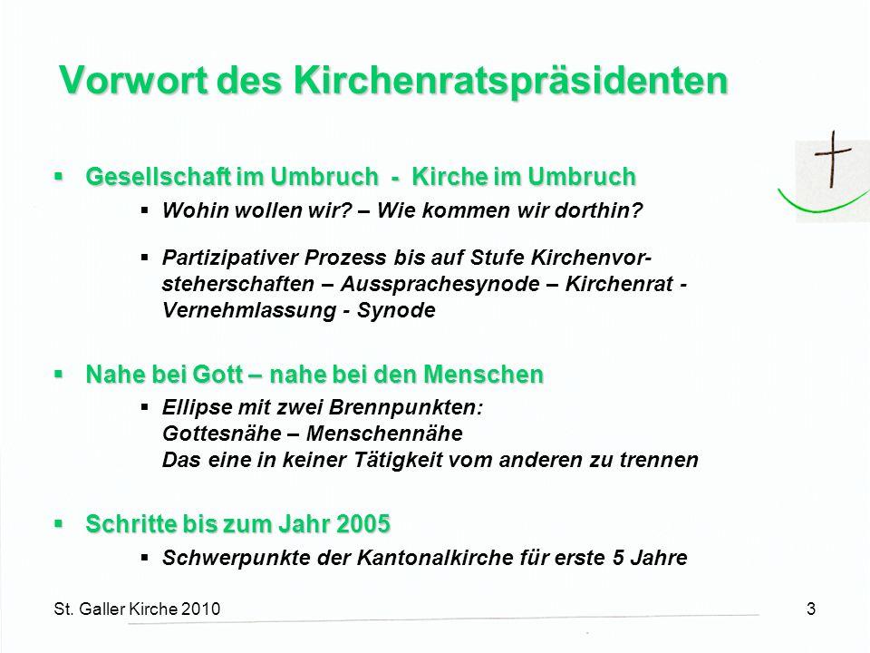 St. Galler Kirche 20103 Vorwort des Kirchenratspräsidenten Gesellschaft im Umbruch - Kirche im Umbruch Gesellschaft im Umbruch - Kirche im Umbruch Woh