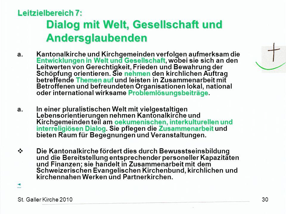St. Galler Kirche 201030 Leitzielbereich 7: Dialog mit Welt, Gesellschaft und Andersglaubenden Entwicklungen in Welt und Gesellschaft nehmen Themen au