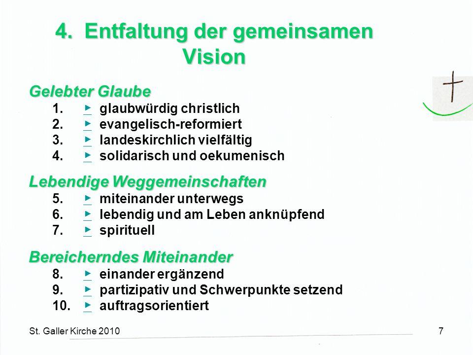 St. Galler Kirche 20107 4. Entfaltung der gemeinsamen Vision Gelebter Glaube 1.