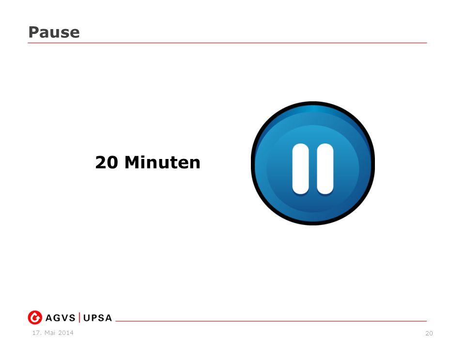 17. Mai 2014 20 Pause 20 Minuten