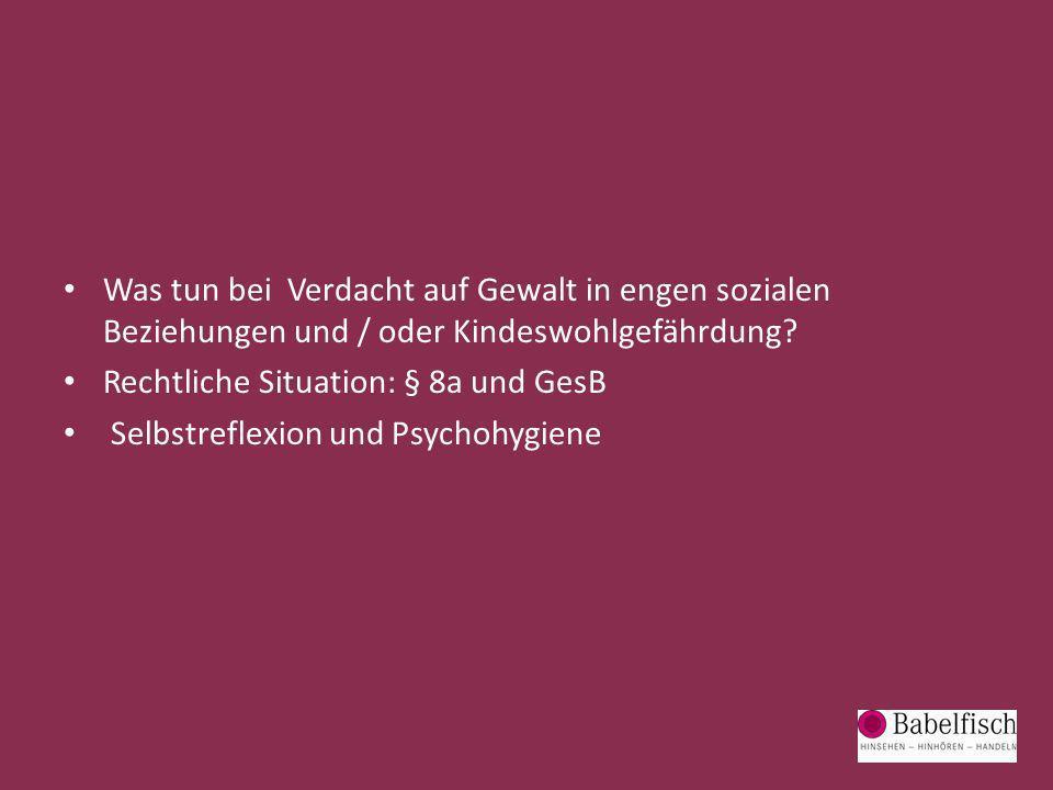 Was tun bei Verdacht auf Gewalt in engen sozialen Beziehungen und / oder Kindeswohlgefährdung? Rechtliche Situation: § 8a und GesB Selbstreflexion und