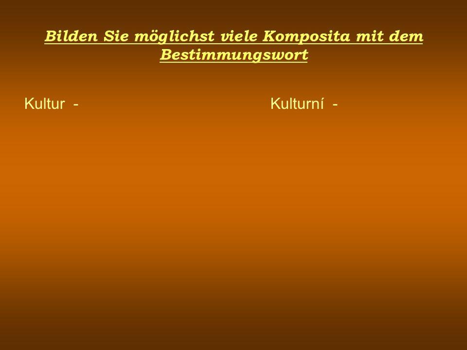 Bilden Sie möglichst viele Komposita mit dem Bestimmungswort Kultur - Kulturní -