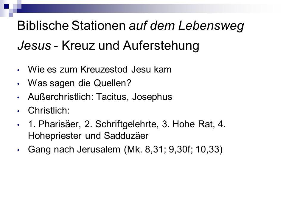 Biblische Stationen auf dem Lebensweg Jesus - Kreuz und Auferstehung Wie es zum Kreuzestod Jesu kam Was sagen die Quellen? Außerchristlich: Tacitus, J