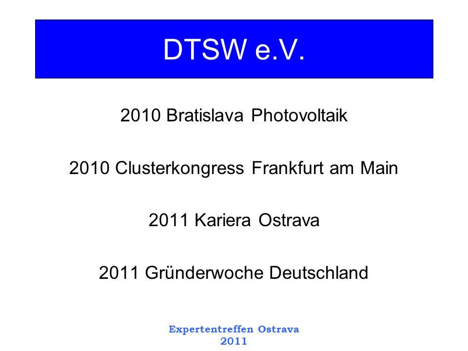 2010 Bratislava Photovoltaik 2010 Clusterkongress Frankfurt am Main 2011 Kariera Ostrava 2011 Gründerwoche Deutschland DTSW e.V.