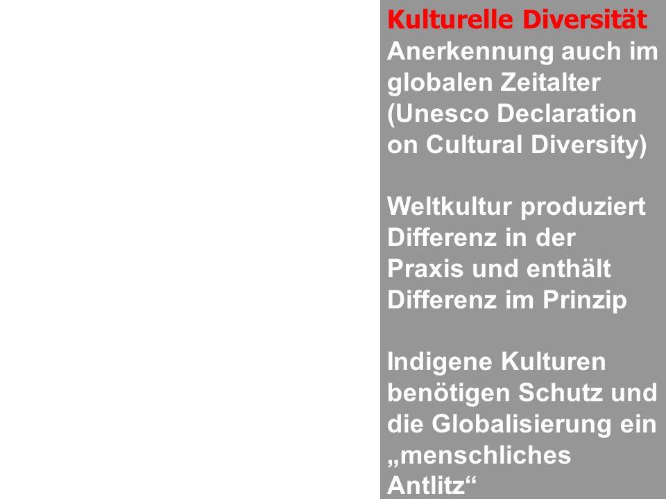 Kulturelle Diversität Anerkennung auch im globalen Zeitalter (Unesco Declaration on Cultural Diversity) Weltkultur produziert Differenz in der Praxis und enthält Differenz im Prinzip Indigene Kulturen benötigen Schutz und die Globalisierung ein menschliches Antlitz