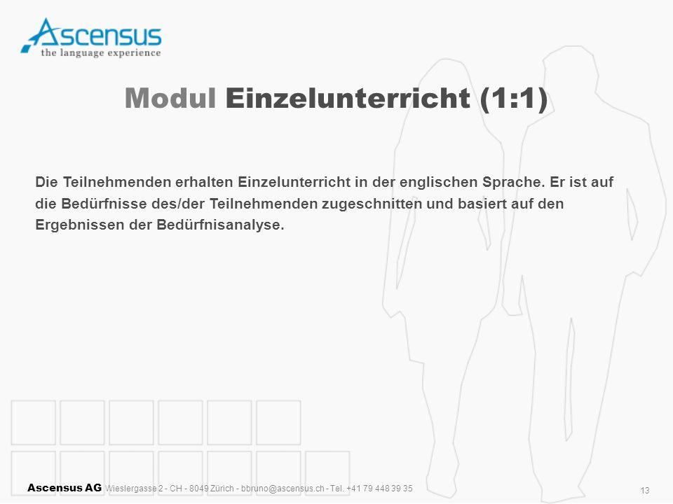 Ascensus AG Wieslergasse 2 - CH - 8049 Zürich - bbruno@ascensus.ch - Tel. +41 79 448 39 35 13 Modul Einzelunterricht (1:1) Die Teilnehmenden erhalten