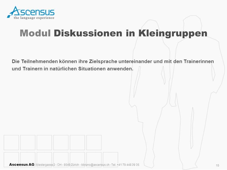 Ascensus AG Wieslergasse 2 - CH - 8049 Zürich - bbruno@ascensus.ch - Tel. +41 79 448 39 35 15 Modul Diskussionen in Kleingruppen Die Teilnehmenden kön