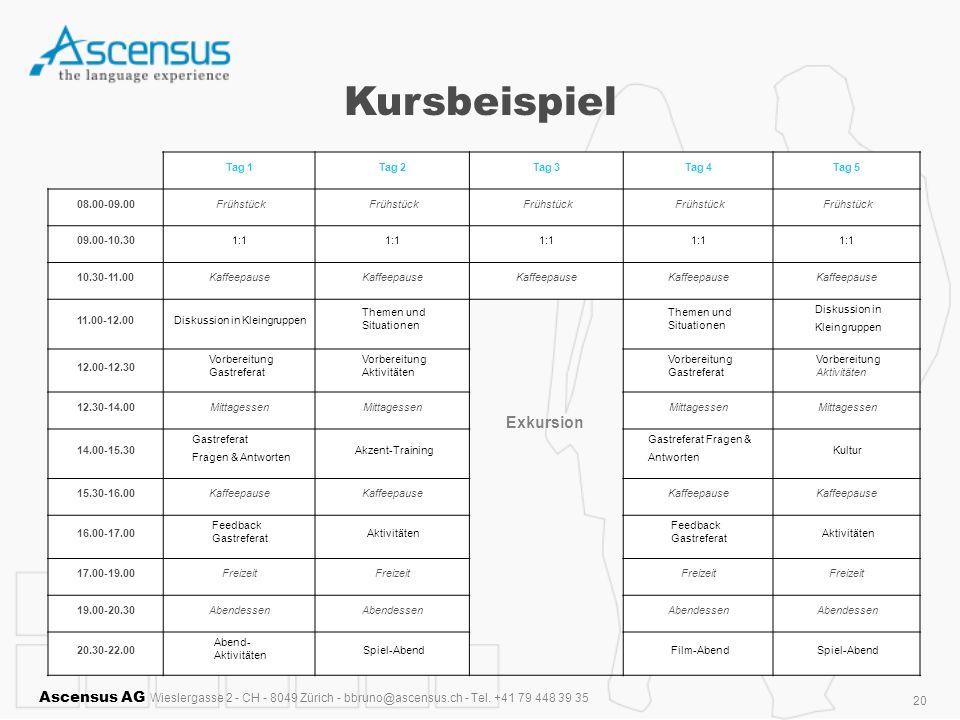 Ascensus AG Wieslergasse 2 - CH - 8049 Zürich - bbruno@ascensus.ch - Tel. +41 79 448 39 35 20 Kursbeispiel Tag 1Tag 2Tag 3Tag 4Tag 5 08.00-09.00Frühst