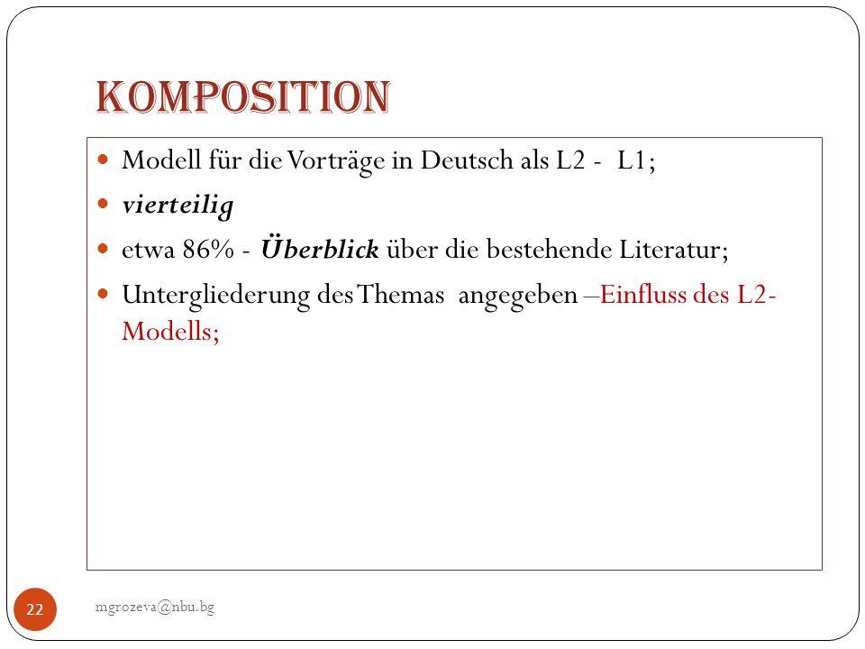 Komposition mgrozeva@nbu.bg 22 Modell für die Vorträge in Deutsch als L2 - L1; vierteilig etwa 86% - Überblick über die bestehende Literatur; Untergli
