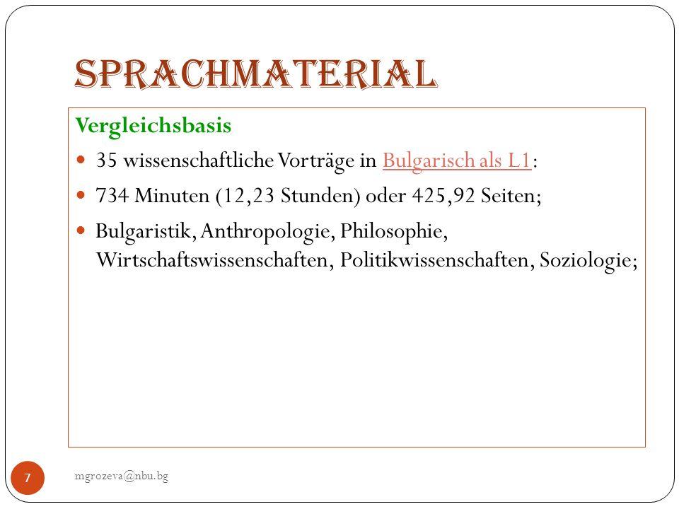 Sprachmaterial mgrozeva@nbu.bg 8 35 wissenschaftliche Vorträge in Deutsch als L1 1092,9 Minuten (18,20 St.), oder 564,3 Seiten; Philosophie, Germanistik, Soziologie, Politikwissenschaften, Wirtschaftswissenschaften