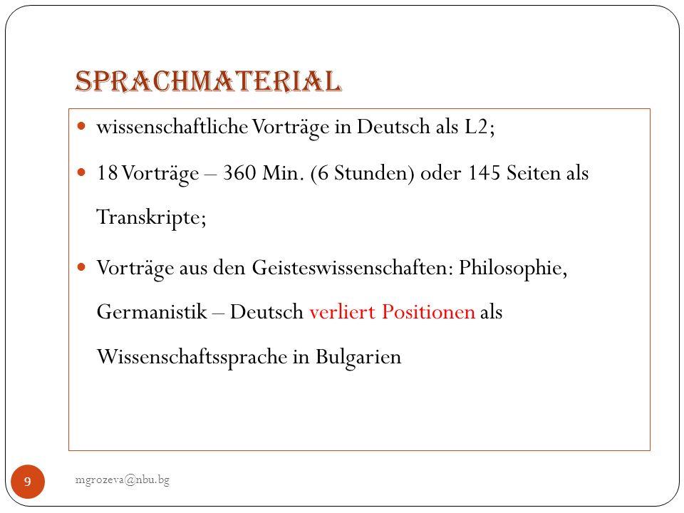 Sprachmaterial mgrozeva@nbu.bg 9 wissenschaftliche Vorträge in Deutsch als L2; 18 Vorträge – 360 Min. (6 Stunden) oder 145 Seiten als Transkripte; Vor