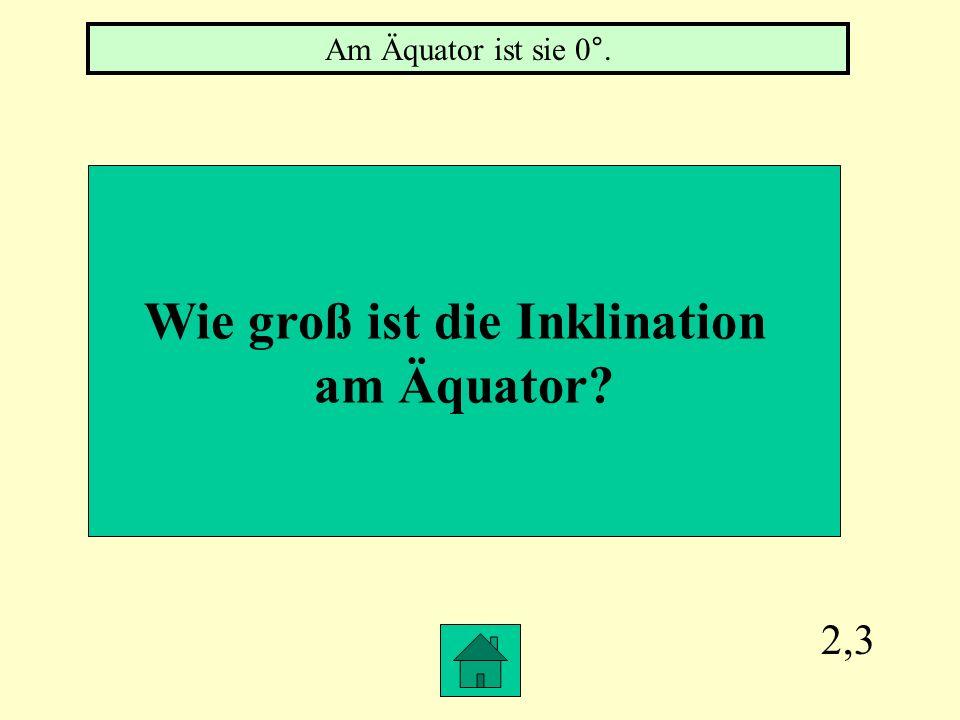 2,3 Wie groß ist die Inklination am Äquator? Am Äquator ist sie 0°.