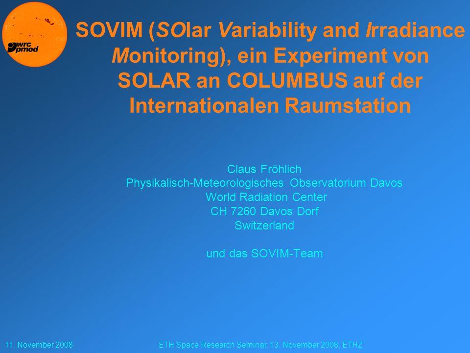 11.November 2008ETH Space Research Seminar, 13.