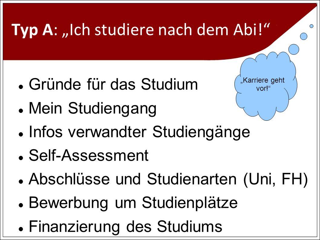 Typ A: Ich studiere nach dem Abi.