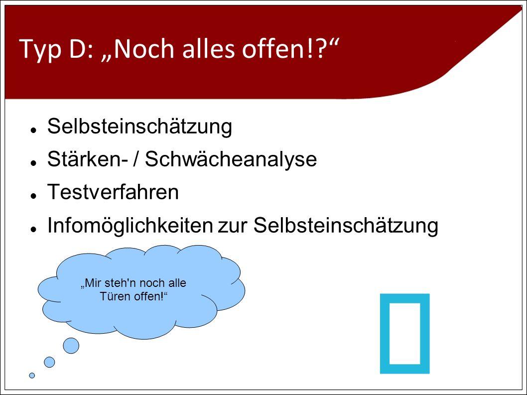 Typ D: Noch alles offen!.