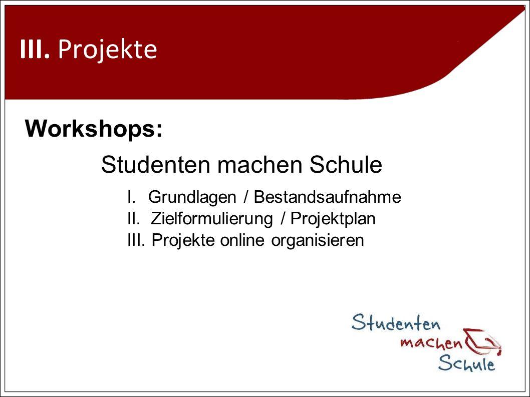 III. Projekte Workshops: Studenten machen Schule I.